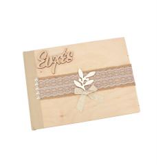 Βιβλίο ευχών γάμου ξύλινο χρυσό κλαδί ελιάς