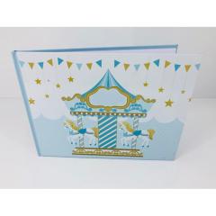 Βιβλίο ευχών σε θέμα carousel γαλάζιο και χρυσό