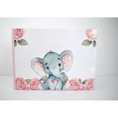 Βιβλίο ευχών θέμα ελεφαντάκι ρόζ με λουλούδια