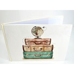 Βιβλίο ευχών σε θέμα βαλίτσες και υδρόγειος λευκό