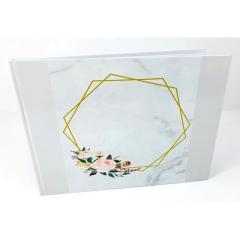 Βιβλίο ευχών σε θέμα διαμάντι με λουλούδια λευκό