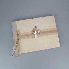 Βιβλίο ευχών ξύλινο με δέντρο της ζωής
