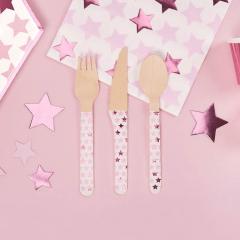 Σετ ξύλινα μαχαιροπίρουνα αστεράκι ροζ 24τεμ