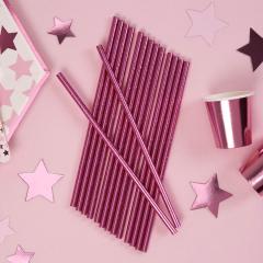Χάρτινα καλαμάκια ροζ μεταλλιζέ 25τεμ