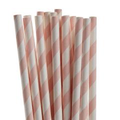Χάρτινα καλαμάκια ριγέ σε χρώμα ρόζ