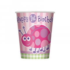 Χάρτινα ποτήρια για πρώτα γενέθλια με πασχαλίτσα