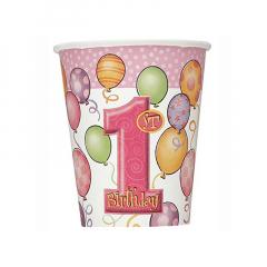 Χάρτινα ποτήρια σε θέμα χαρούμενα πρώτα γενέθλια
