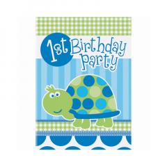 Χάρτινες προσκλήσεις για πάρτι με μπλε χελώνα
