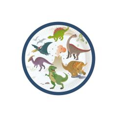 Πιάτα γλυκού με θέμα Happy Dinosaur 8τεμ
