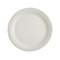 Χάρτινα πιάτα φαγητού λευκά 23εκ 10τεμ
