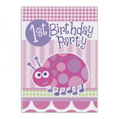 Χάρτινες προσκλήσεις για πάρτι με ροζ πασχαλίτσα