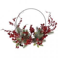 Χριστουγεννιάτικο στεφάνι μεταλλικός κύκλος και γκι 30εκ