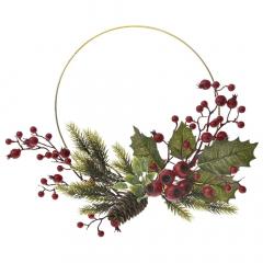 Χριστουγεννιάτικο στεφάνι χρυσός μεταλλικός κύκλος 25εκ