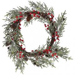 Χριστουγεννιάτικο στεφάνι με γκι και κουκουνάρια 36εκ
