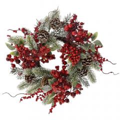 Χριστουγεννιάτικο στεφάνι με γκι και κουκουνάρια 40εκ