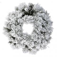 Χριστουγεννιάτικο στεφάνι χιονισμένο με κουκουνάρια 60εκ