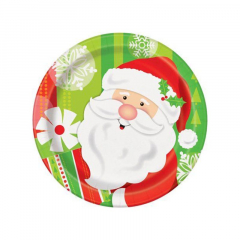 Χάρτινο πιάτο γλυκού Happy Santa 8τεμ